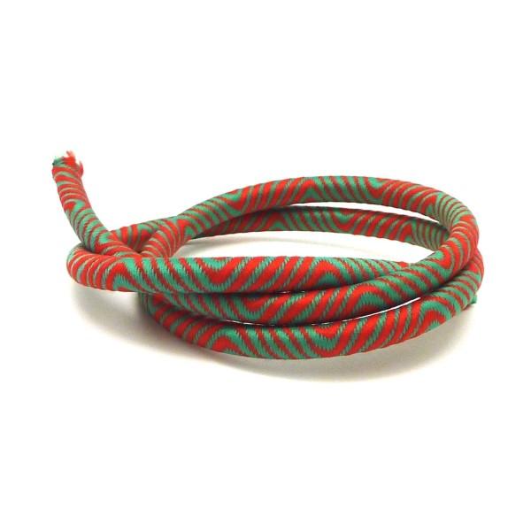 50cm Cordon 5mm En Nylon Tissé Autour D'un Cordon Plastique Embout Creux De Couleur Vert Et Rouge - - Photo n°1