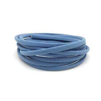 1,3m Cordon Plat Simili Cuir, Synthétique 3,5mm Légèrement Arrondi De Couleur Bleu De France, Bleu