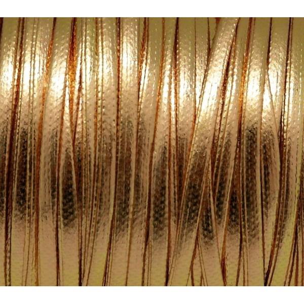 R-1m Lanière Cuir Synthétique Couleur Or, Doré  2,5mm Aspect Brillant Vernis - Photo n°1
