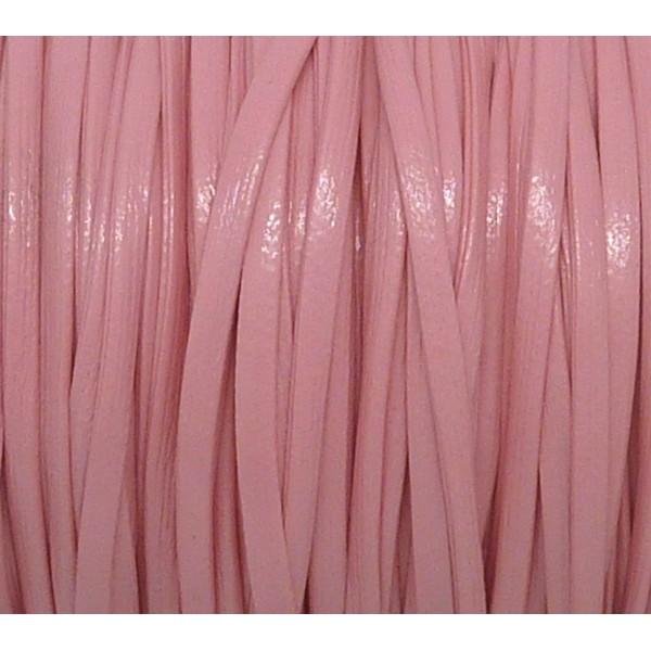 1m Lanière Cuir Synthétique Couleur Rose Pastel Rose Pâle 2,5mm Aspect Brillant Vernis Idéal Bra - Photo n°1