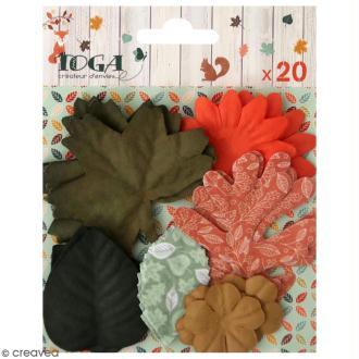 Feuilles et Fleurs d'automne en papier - Miel et cannelle - 20 pcs
