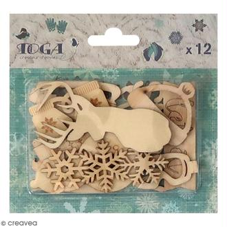 Formes en bois Let it Snow - Assortiment 12 pcs