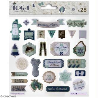 Stickers 3D epoxy - Let it Snow - 28 pcs