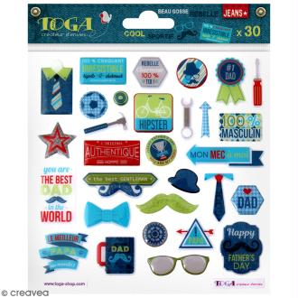 Stickers 3D epoxy - 100 % Masculin - 30 pcs