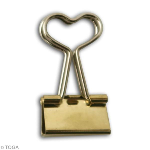 Pinces clip coeur 3,6 x 1,9 cm - Dorées - 6 pcs - Photo n°2