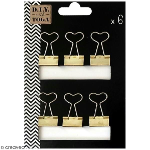 Pinces clip coeur 3,6 x 1,9 cm - Dorées - 6 pcs - Photo n°1
