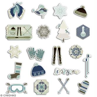 Chipboard  Let it Snow - 20 pcs