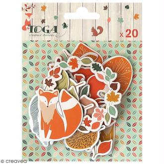 Chipboard Miel et Cannelle - 20 pcs