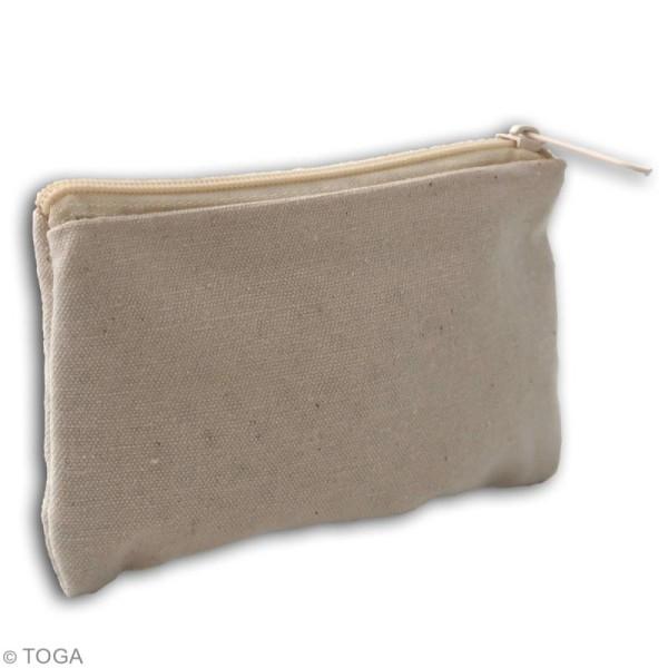 Trousse plate en tissu 12 cm - Blanc cassé - Photo n°2