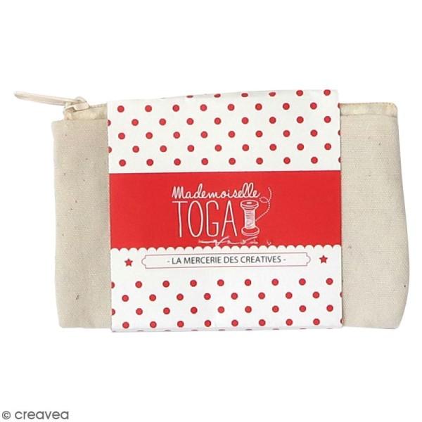 Trousse plate en tissu 12 cm - Blanc cassé - Photo n°1