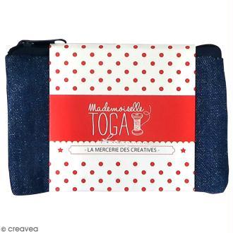 Trousse plate en tissu 12 cm Bleu jean