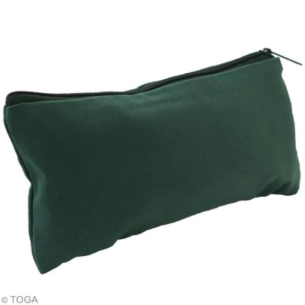Trousse plate en tissu 22 cm Vert kaki - Photo n°2