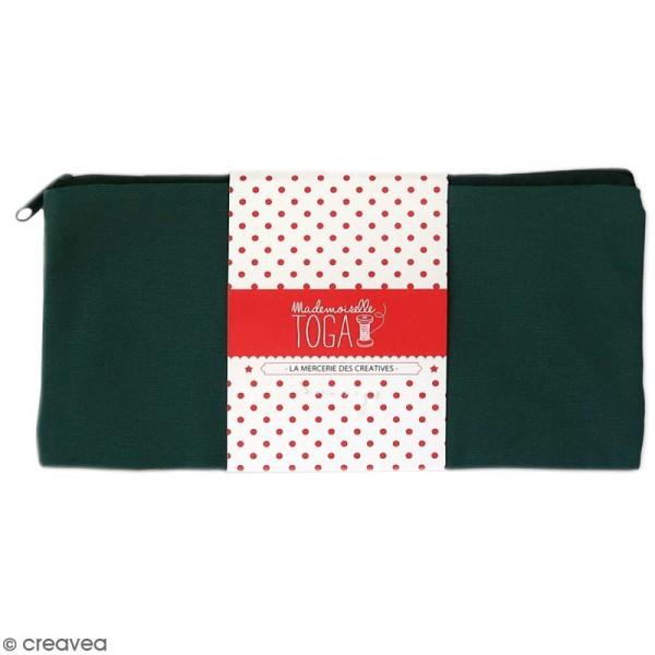 Trousse plate en tissu 22 cm Vert kaki - Photo n°1