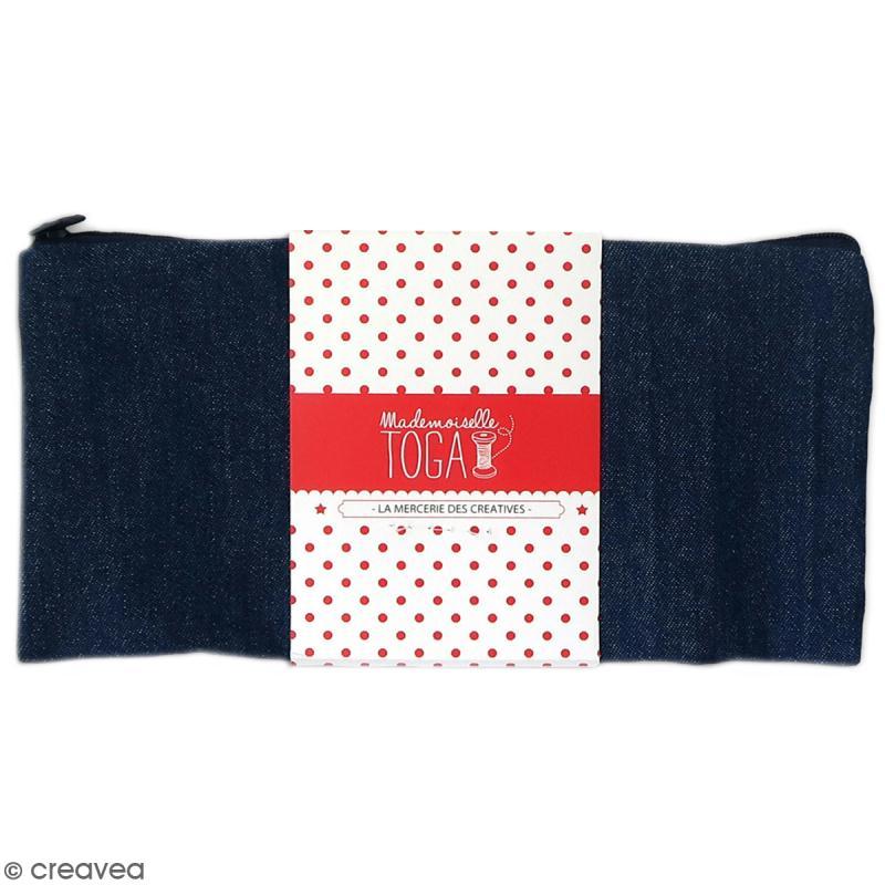 Trousse plate en tissu 22 cm Bleu jean - Photo n°1