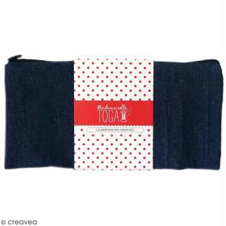Trousse plate en tissu 22 cm Bleu jean