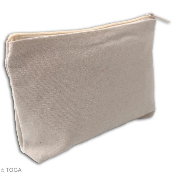 Trousse à soufflet en tissu 17,5 cm - Blanc cassé - Photo n°2