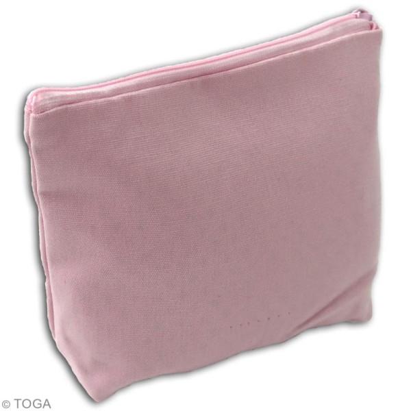 Trousse à soufflet en tissu 17,5 cm - Rose pastel - Photo n°2