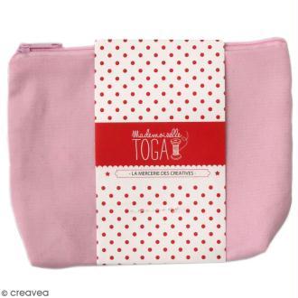 Trousse à soufflet en tissu 17,5 cm - Rose pastel