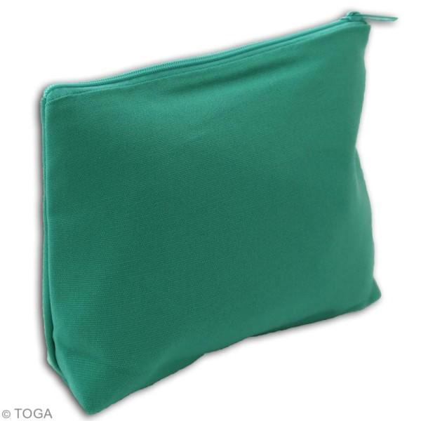 Trousse à soufflet en tissu 17,5 cm Vert amande - Photo n°2