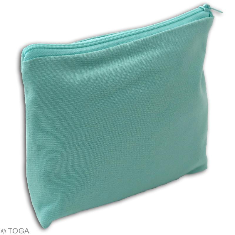 Trousse à soufflet en tissu 17,5 cm - Vert menthe - Photo n°2