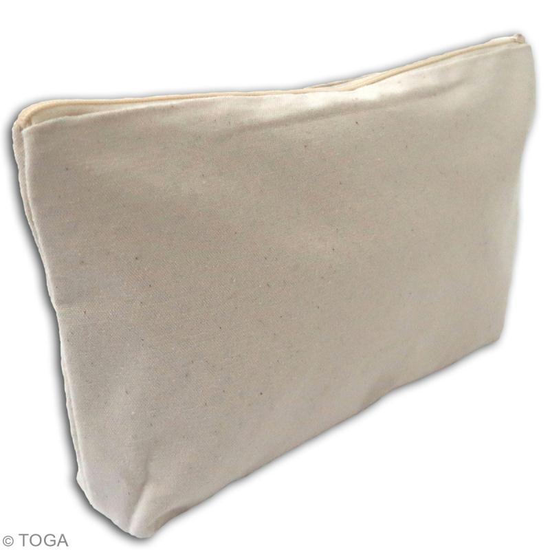 Trousse à soufflet en tissu 26 cm Blanc cassé - Photo n°2