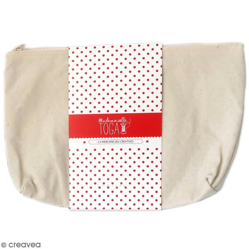 Trousse à soufflet en tissu 26 cm Blanc cassé - Photo n°1