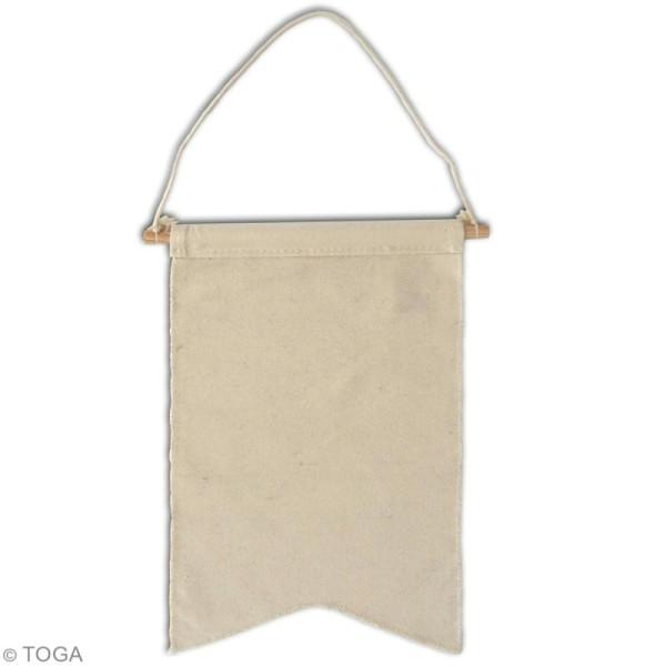 Fanion en tissu à décorer - 20 x 30 cm - Blanc cassé - Photo n°2