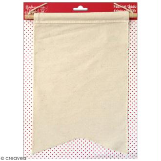 Fanion en tissu à décorer - 20 x 30 cm - Blanc cassé