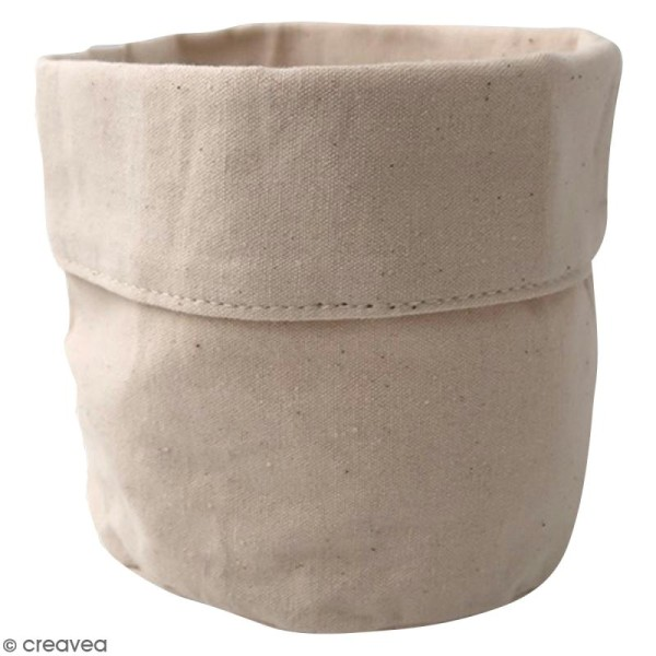 Pochon en tissu 12 x 12 cm Blanc cassé - Photo n°1