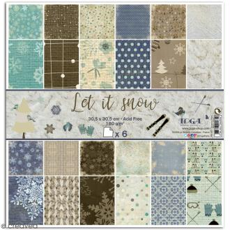 Papier scrapbooking Toga - Let it Snow - Set de 6 feuilles de 30,5 x 30,5 cm