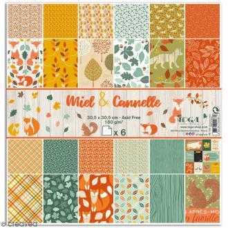 Papier scrapbooking Toga - Miel et Cannelle - Set de 6 feuilles de 30,5 x 30,5 cm