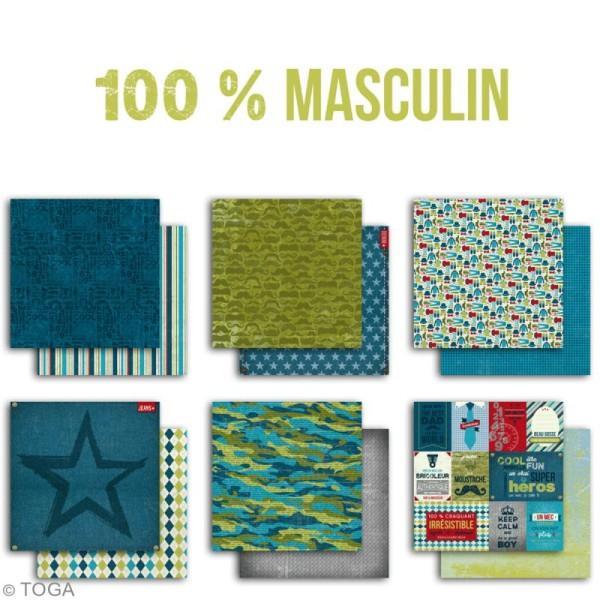 Papier scrapbooking Toga - 100 % Masculin - Set de 6 feuilles de 30,5 x 30,5 cm - Photo n°2