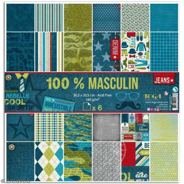 Papier scrapbooking Toga - 100 % Masculin - Set de 6 feuilles de 30,5 x 30,5 cm - Photo n°1
