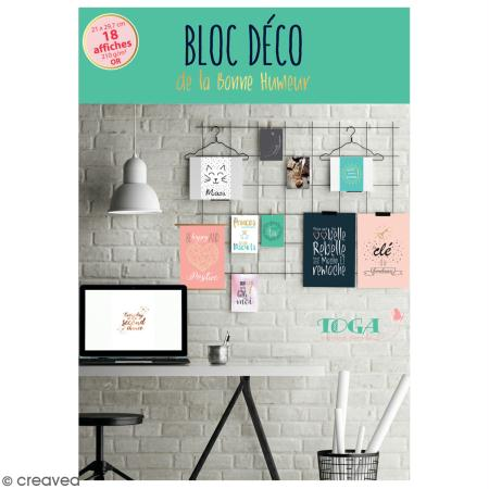bloc d co affiches murales bonne humeur a4 21 x 29 7 cm 18 feuilles d co murale creavea. Black Bedroom Furniture Sets. Home Design Ideas