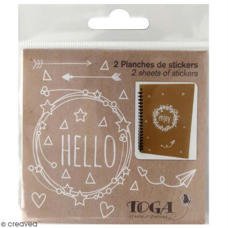 2 Planches de stickers messages Fantaisie - blanc - Toga
