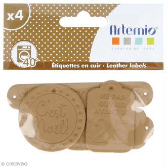Etiquettes en cuir à coudre - Marron clair - Joyeux Noël - De 4 à 9 cm - 4 pcs