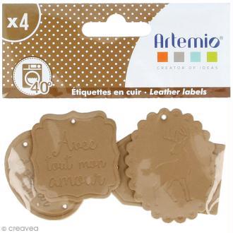 Etiquettes en cuir à coudre - Marron clair - Cerfs - De 4 à 9 cm - 4 pcs