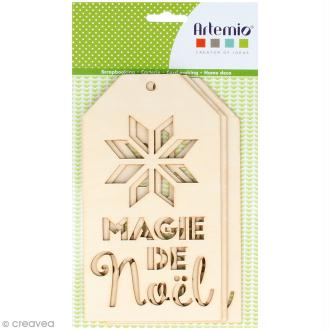 Grandes étiquettes en bois à décorer - Magie de Noël - 3 pcs
