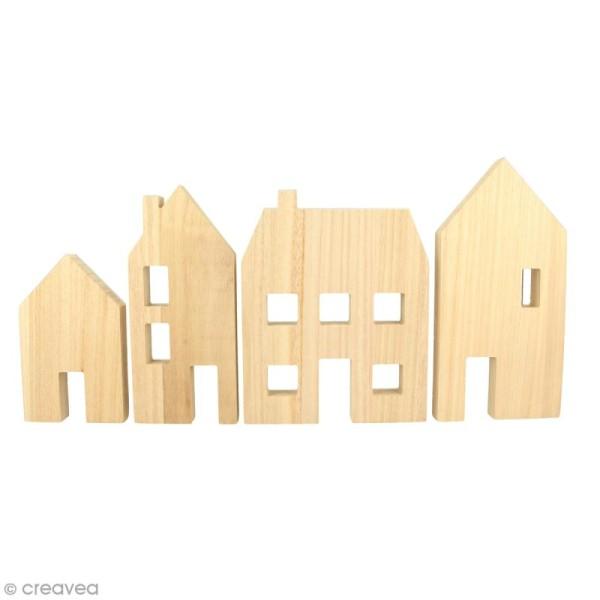 Maisons en bois à décorer - 4 pcs - Photo n°1