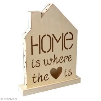 Tableau LED en bois - Home