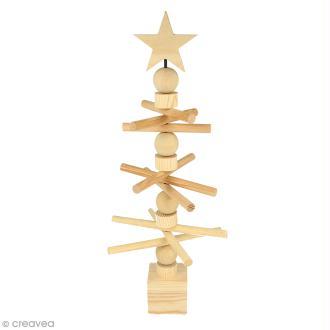 Sapin de Noël en bois design - Rotatif - 15 x 36 cm