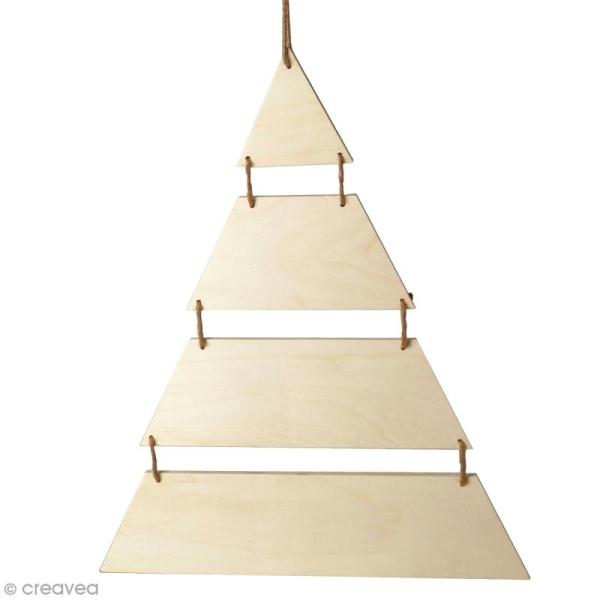Sapin de Noël en bois design - A suspendre - 40 x 53,5 cm - Photo n°1