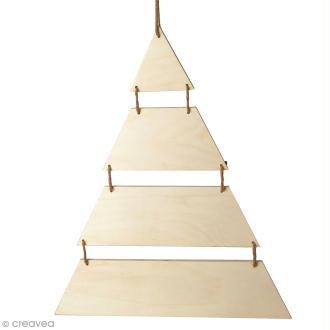 Sapin de Noël en bois design - A suspendre - 40 x 53,5 cm