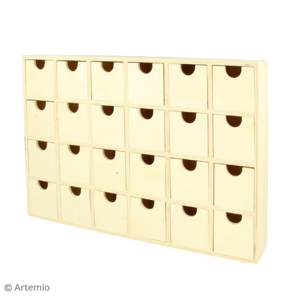 Calendrier de l'Avent en bois à décorer - Rectangulaire - 30,5 x 20 cm - Photo n°2