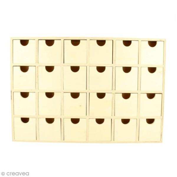 Calendrier de l'Avent en bois à décorer - Rectangulaire - 30,5 x 20 cm - Photo n°1