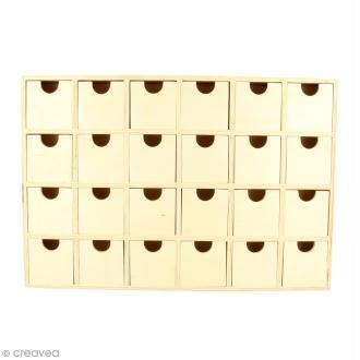 Calendrier de l'Avent en bois à décorer - Rectangulaire - 30,5 x 20 cm