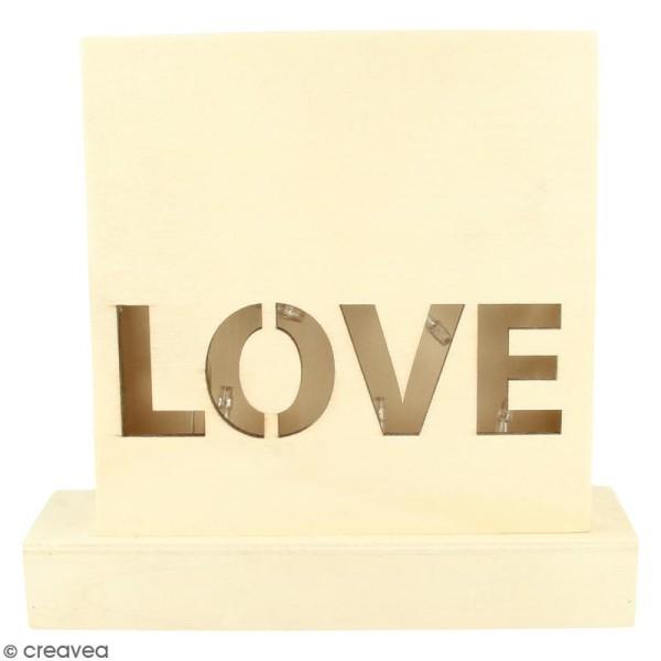 Petit tableau LED en bois - Love - Photo n°1