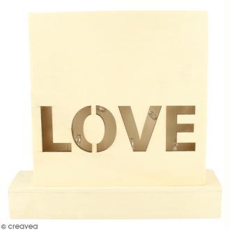 Petit tableau LED en bois - Love