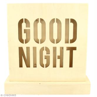Petit tableau LED en bois - Good night