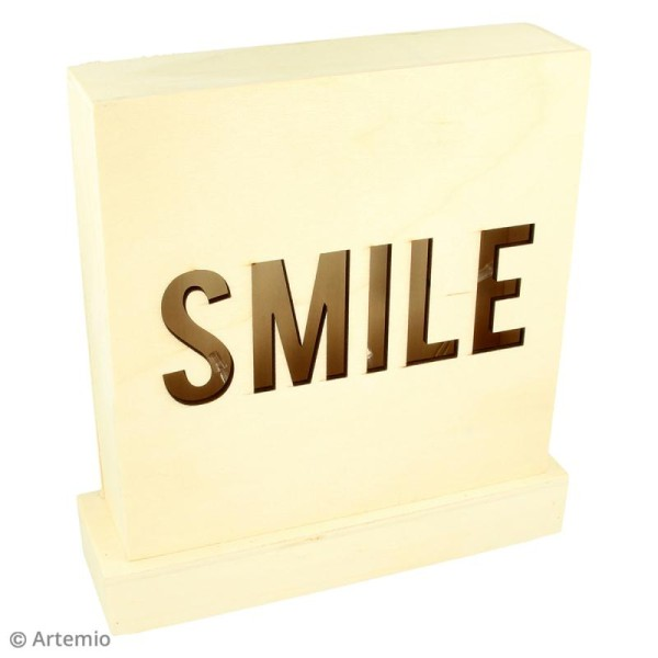 Petit tableau LED en bois - Smile - Photo n°2